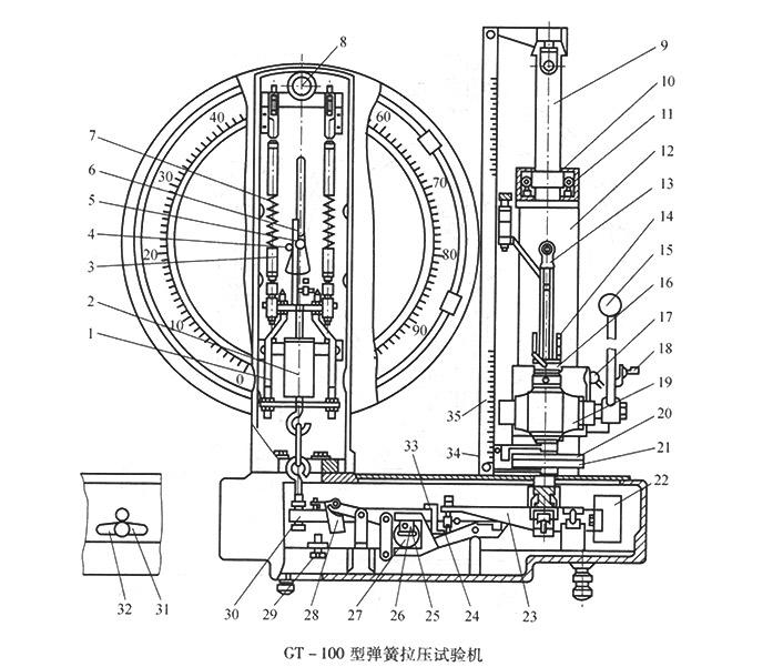 GT-100型弹簧拉压试验机
